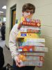 <p>Before, during, and after photos of Dock's epic Cereal Box Domino Challenge on Thursday, April 1, 2021.</p>