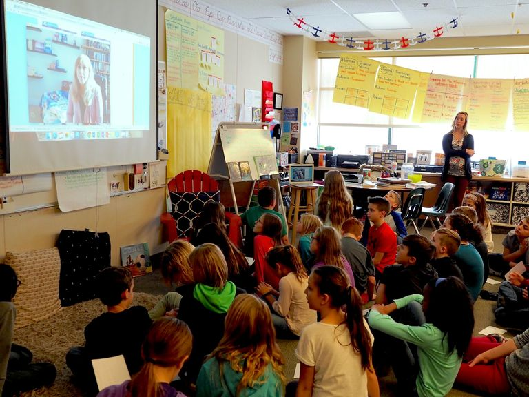 Fifth graders skype with author
